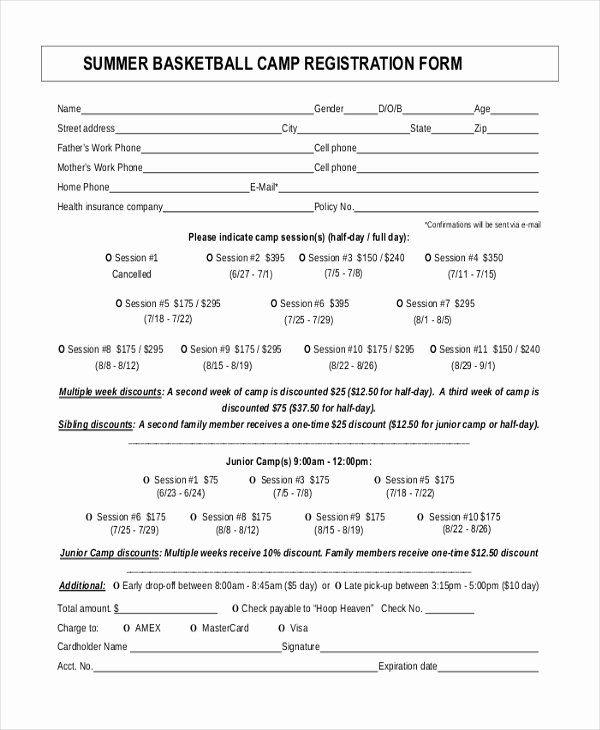 Camp Registration Form Template Word Lovely Boot Camp Registration