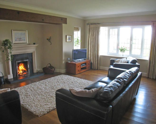 Photo Of Black White Living Room Lounge With Fireplace Furry Rug Rugs Soft Furnishings And Furniture