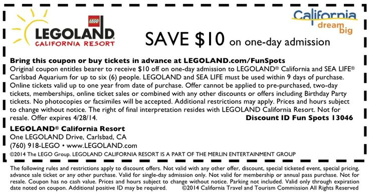 Step 1 Buy an annual pass if you plan to visit Legoland more than once a year. Step 2 Contact your benefits association. Step 3 Present your airline employee ID to receive a 20 percent discount on up to six tickets at the California park. Step 4 Visit or call your Information, Tickets, and Travel Office if you're a member of the U.S. military. More.