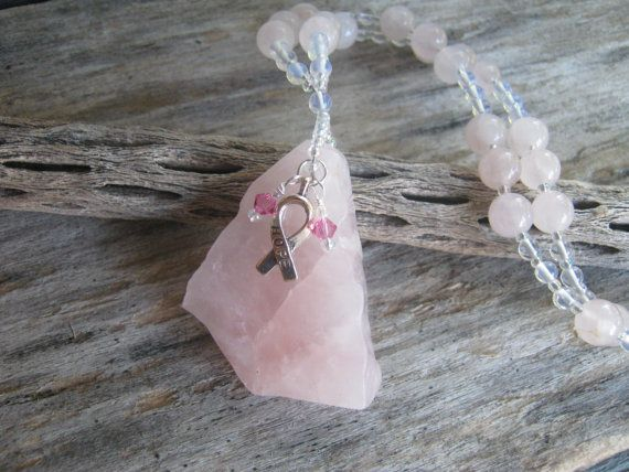 Breast Cancer Survivor Necklace, Rose Quartz Necklace, Opalite Beaded Necklace, Hope Ribbon, Free Form, Heart Chakra Necklace, READY To SHIP