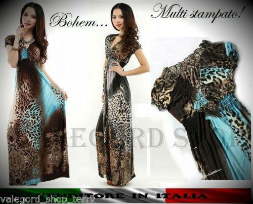 Maxi-abito-lungo-boho-vestito-stampa-animalier-bohem-turchese-grigio-XS-a-XL-mar