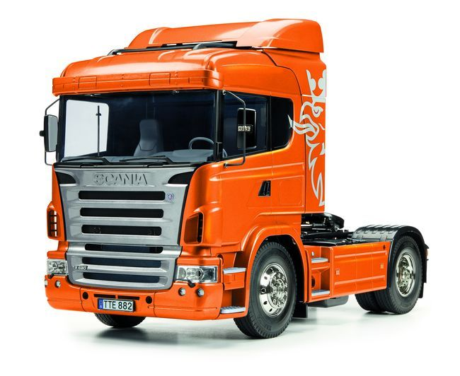 1x Tamiya Scania R470 (56338) Bausatz 1/14 Scania R470 Highline. Sonder- edition. Orangemetallic lackierte Karosserie-Teile!   Komplettbausatz zum Bau eines Fahrmodells. Zur vollständigen...