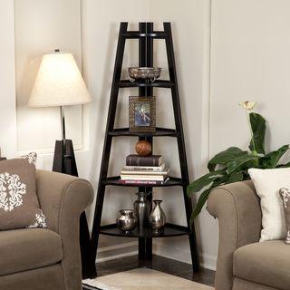 Five Tier Espresso Corner Ladder Display Bookshelf | Overstock.com Shopping - Great Deals on Danya B Media/Bookshelves