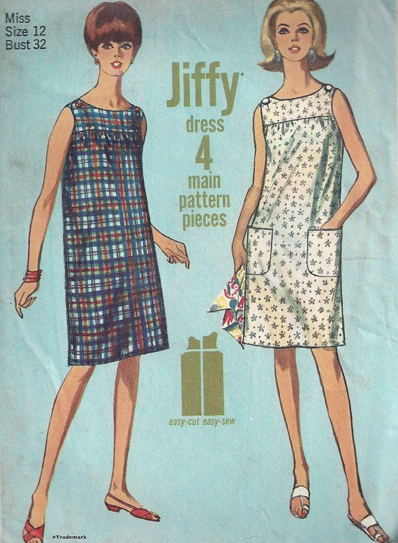 1960s shift dress pattern sleeveless simple size 12 bust