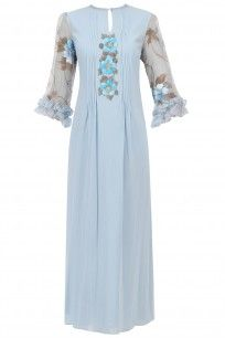 BAAVLI  Blue Floral Hand Painted Dress