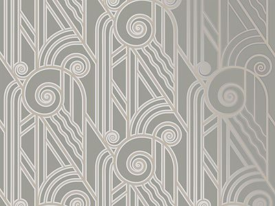 Volute Art Deco Style Wallpaper in Pewter | Bradbury & Bradbury