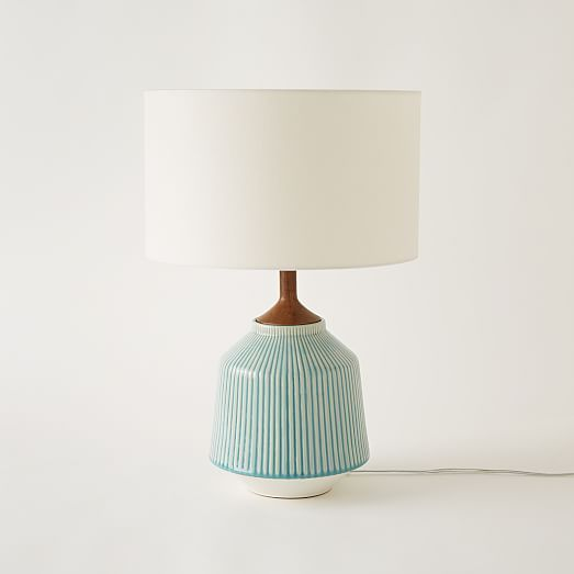 Roar + Rabbit Ripple Ceramic Table Lamp - Turquiose | west elm