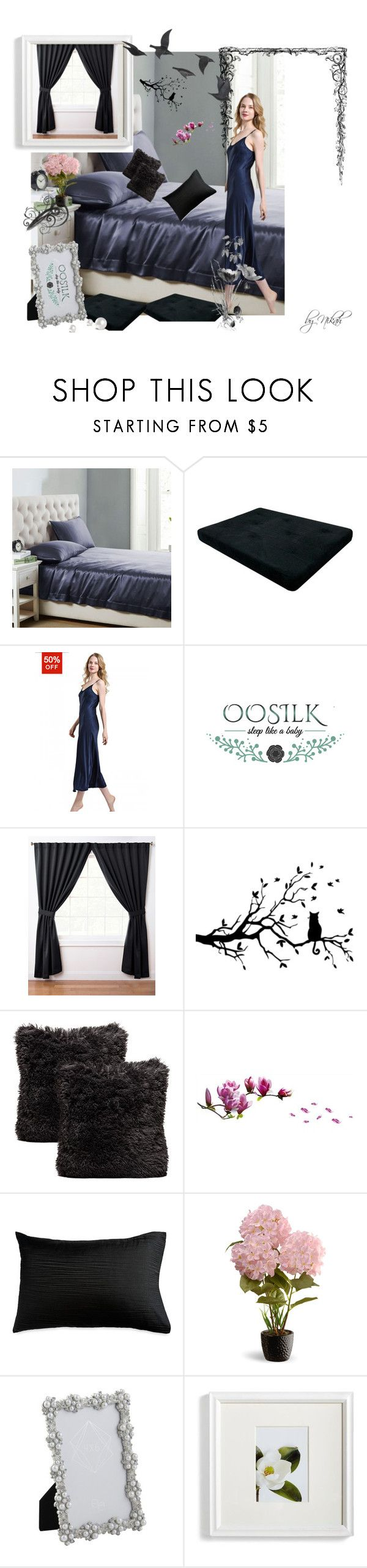 """""""Oosilk-bedding 15"""" by azrahadzic on Polyvore featuring interior, interiors, interior design, home, home decor, interior decorating, Dorel, ExceptionalSheets, Donna Karan and National Tree Company"""