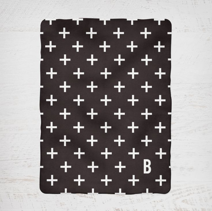 Colour and Spice Personalised Blanket Cross Pattern Initial Monochrome