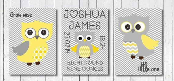 Owl Nursery Art Print yellow, Neutral Owl Nursery Print, Birth Announcement, Grey Yellow Owl Nursery Art, Neutral Christening gift art.