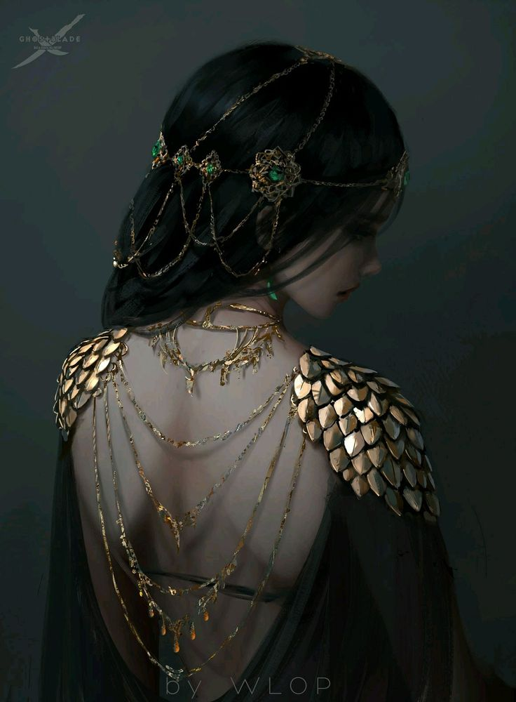 For a flicker of time, the fashion in the courts of Rhydion shifts to gold lace jewellery and ribbons of metal over bare skin. She forbade her daughters from following the fashion, blunt and quick.