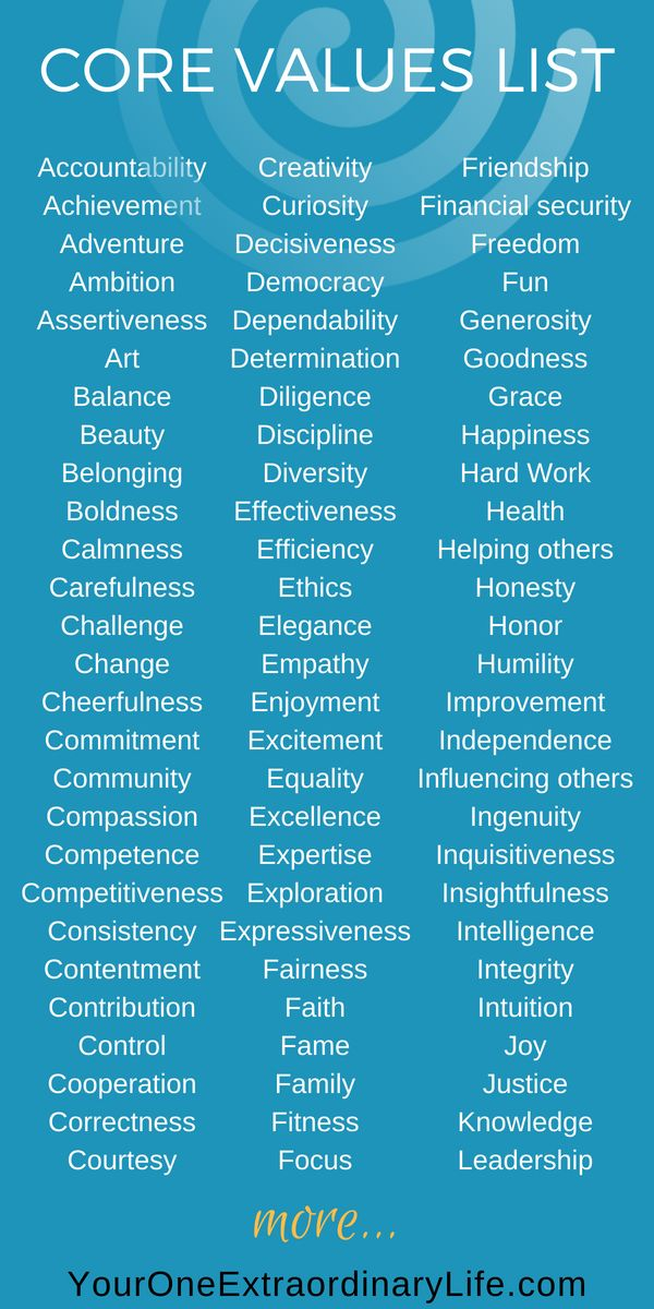 Personal Core Values List A Comprehensive List Of 148