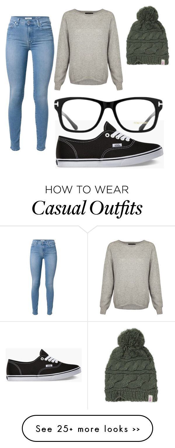 """Casual"" by suzyreid on Polyvore featuring 7 For All Mankind, 360 Sweater, Vans, The North Face and Tom Ford"