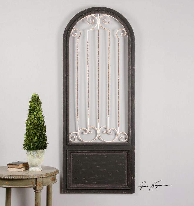 French tuscan wall decor plaque gate door style distressed rustic black frame premier home decor