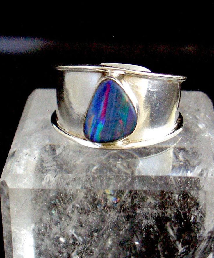 Genuine AUSTRALIAN FIRE OPAL Blueish, Pink, Green Round Gemstone, 925 Solid Sterling Silver, Fascinating Band Ring Sz.9 Adjustable!! by Ameogem on Etsy