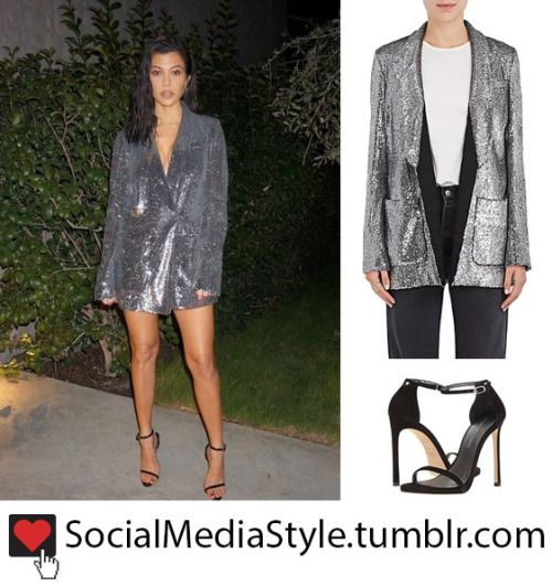 892120d145e5 Buy Kourtney Kardashian's Silver Sequin Blazer Dress and Black Sandals,  here!