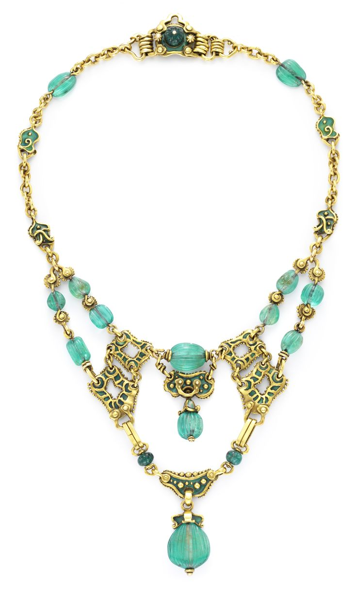 Marcus & Co. An Antique Emerald, Enamel and Gold Necklace by Marcus & Co., c. 1900. Available Exclusively at FD. www.fd-inspired.com