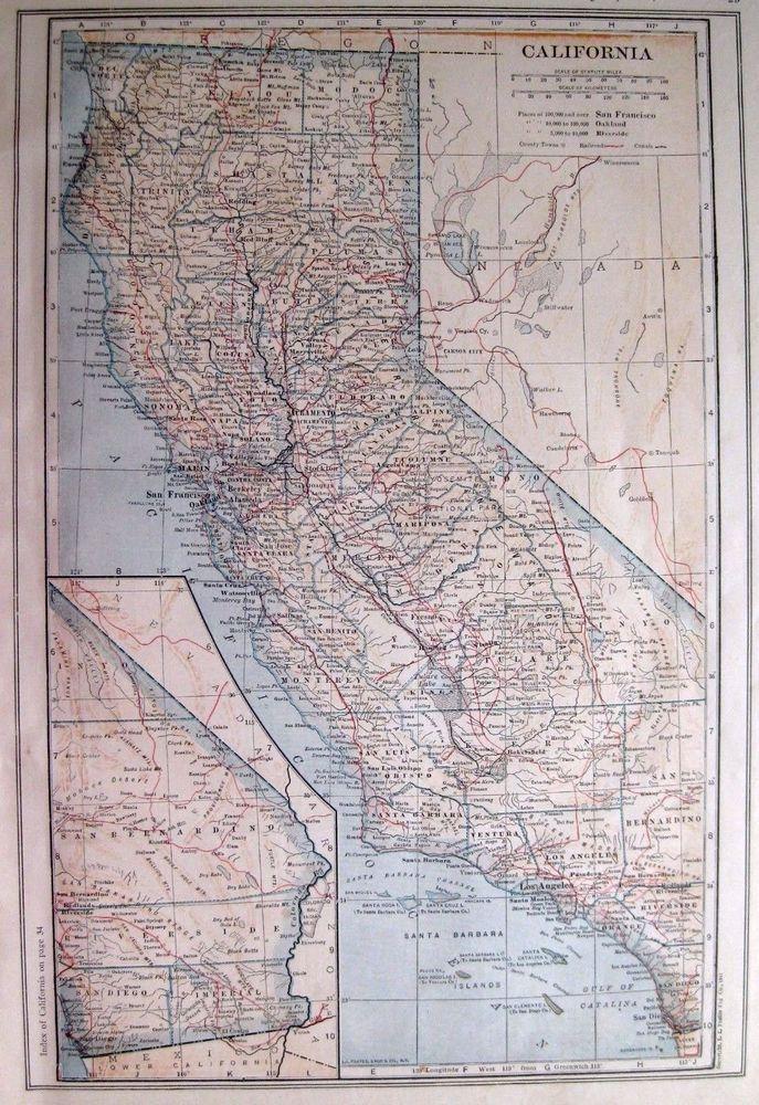 1917 Antique CALIFORNIA MAP Original State Map