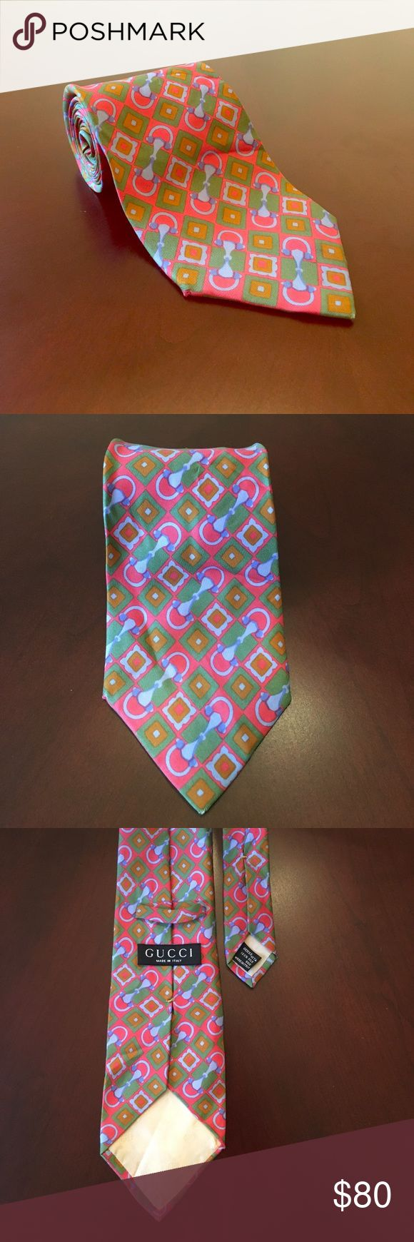 🎉🎊HOST PICK!!🎊🎉Men's Gucci Designer Tie! L👀k! Men's Gucci Designer Tie! 100% Silk! Spring Colors (Pink/Green/Blue). Tie is in Great Condition, but does have a few wrinkles. This tie is Begging to be worn! Stunning Geometric Design. No Low-Ball Offers please. Smoke-Free as always. Ships in 24 hrs or less! BUNDLE and SAVE 15% + Save on Shipping! Gucci Accessories Ties