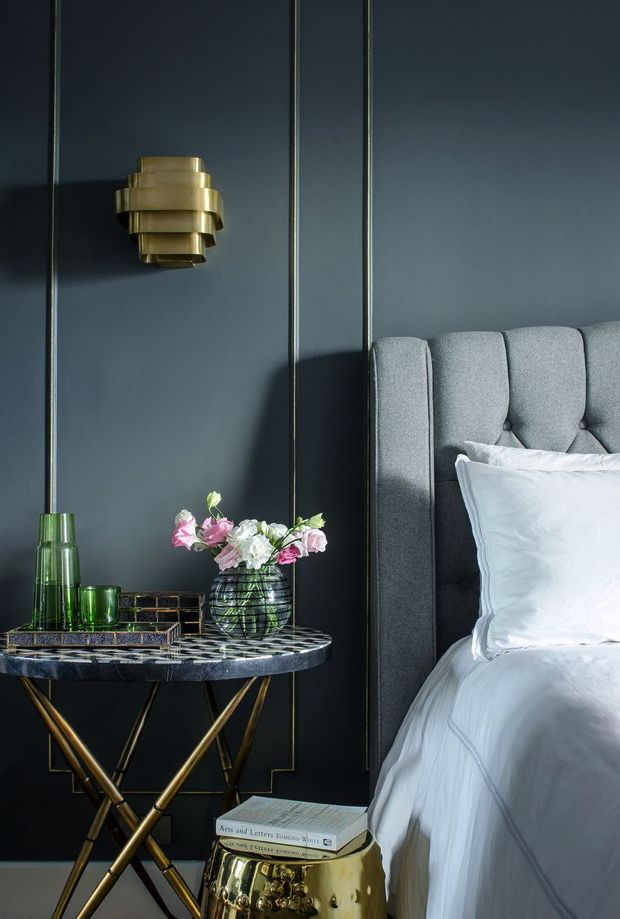 Brass-Bedside Table. Master bedroom. Bedroom design ideas. luxury interiors. For more inspirational ideas take a look at: www.homedecorideas.eu