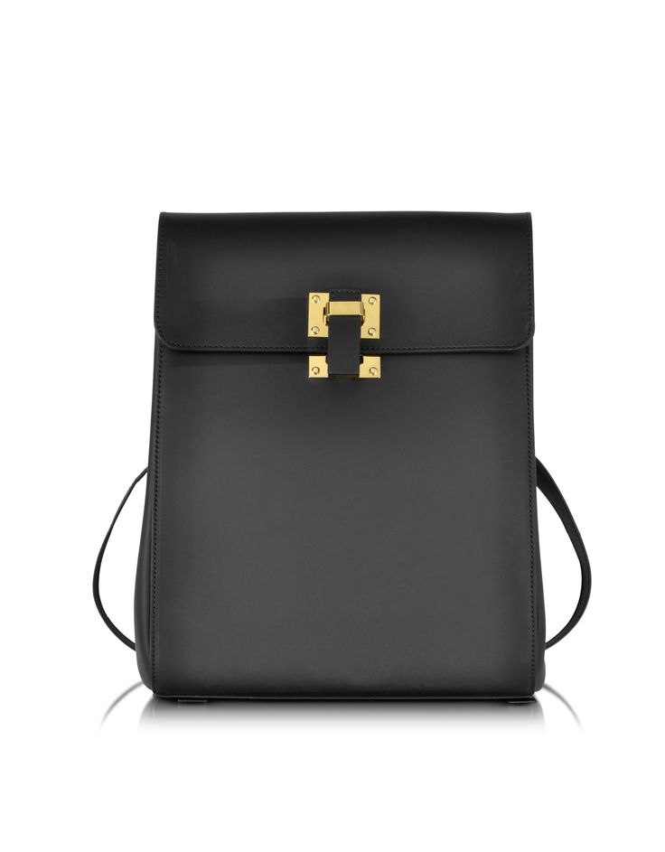 Sophie Hulme Black Leather Box Flap Rucksack at FORZIERI