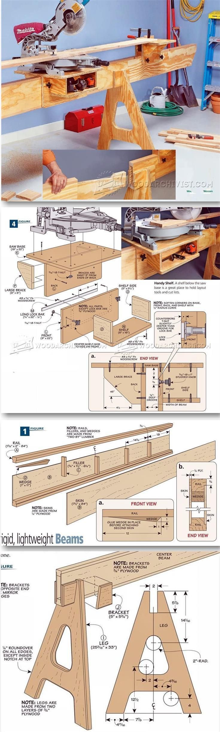 Folding Miter Saw Stand Plans - Miter Saw Tips, Jigs and Fixtures | http://WoodArchivist.com?utm_content=buffer6f8c5&utm_medium=social&utm_source=pinterest.com&utm_campaign=buffer