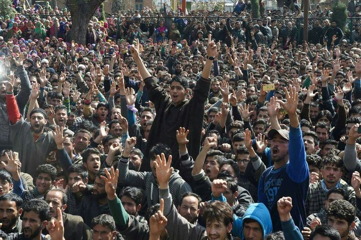 People shout Pro independence slogans inrebel, tawseefs funeral procession in South kashmir