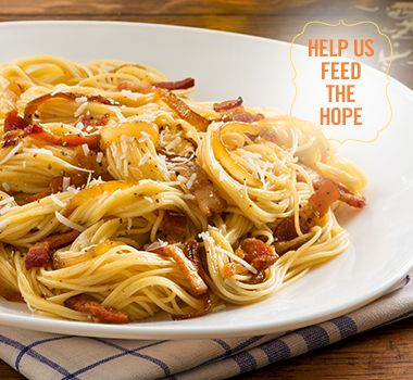Angel Hair Caramelized Onion and Bacon Carbonara | For every Facebook share or download of our Pasta to the Rescue cookbook or its recipes, we're donating portions of pasta to food banks across Canada. Visit https://www.catelli.ca/en/feed-the-hope/ to learn more.