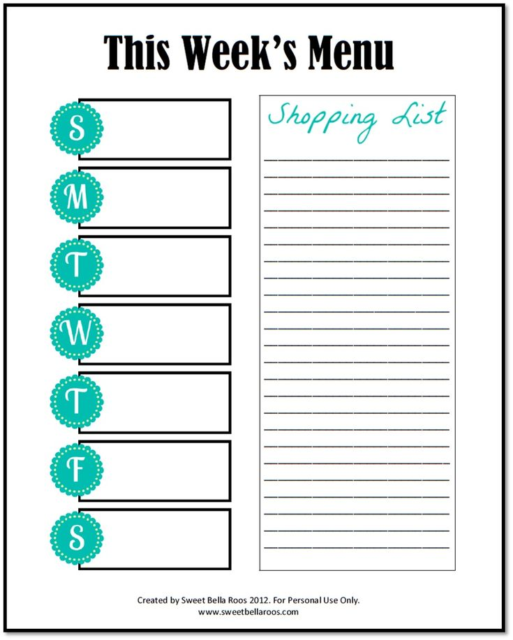 28 best Free Printables images on Pinterest Printables, School and - Printable Weekly Menu Planner With Grocery List