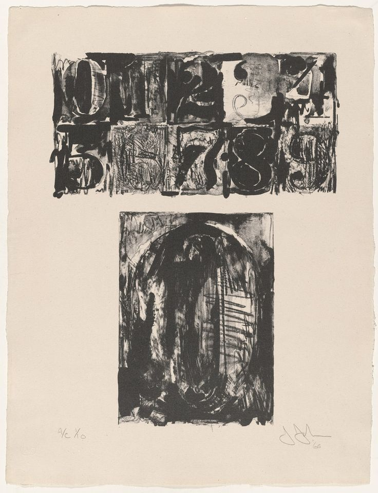 """Jasper Johns. 0 from 0-9. 1960, published 1963. One from a portfolio of ten lithographs. composition (irreg.): 16 1/16 × 12 3/16"""" (40.8 × 31 cm); sheet: 20 1/2 × 15 1/2"""" (52.1 × 39.4 cm). Universal Limited Art Editions, West Islip, New York. Universal Limited Art Editions, West Islip, New York. 10. Gift of the Celeste and Armand Bartos Foundation. 522.1964.1. © 2017 Jasper Johns / Licensed by VAGA, New York. 0-9. Drawings and Prints"""
