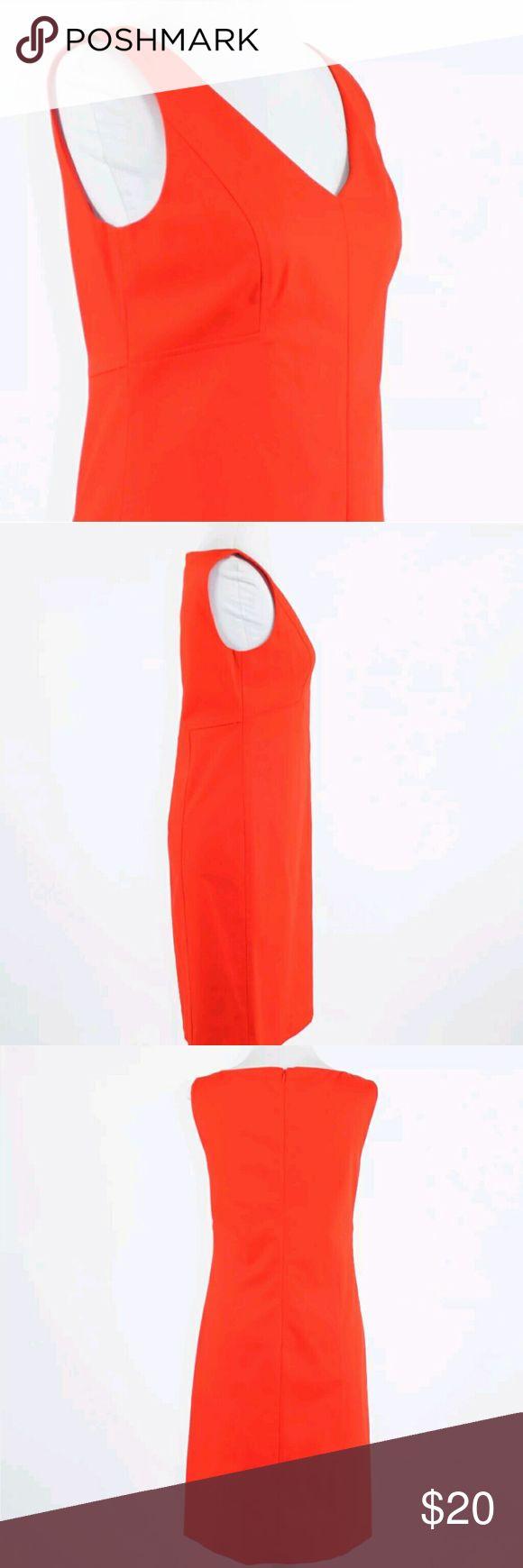 Talbots womens orange dress Orange cotton blend TALBOTS sleeveless V-neck sheath dress 4 petite Talbots Dresses Midi