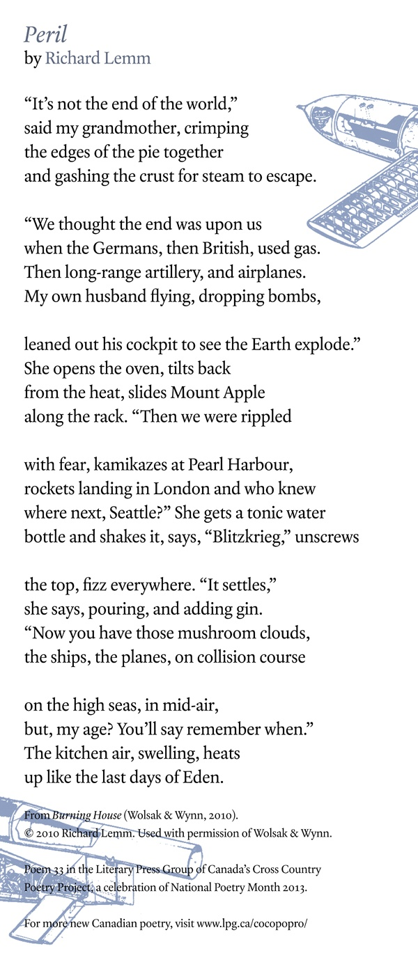 Poetry Month Day 27: Peril, from Burning House by Richard Lemm (Wolsak & Wynn)