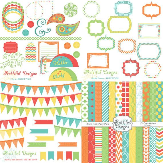50% Off SALE Digital Scrapbook Kit Scrapbooking Paper Digital Frame Clip Art 79 Items Beach Party (491) (454) (492) (447) via Etsy