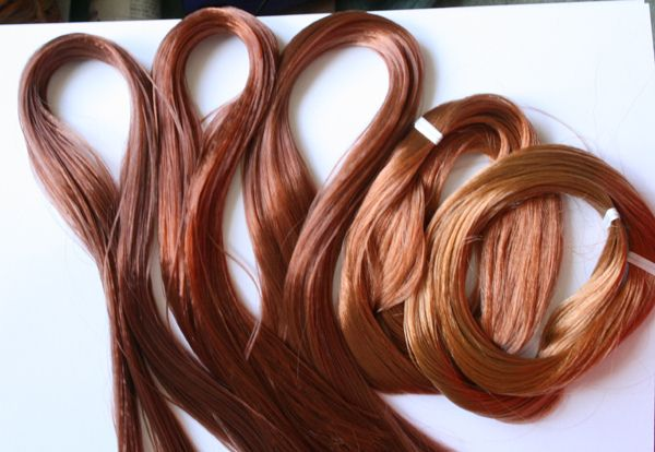 https://flic.kr/p/8oPUXX | comparisons for Janee - Nylon & Saran | This was actually quite a tricky photo as the Nylon shades are all SO similar! Ever so slightly over exposed to show the differing colours  Left to right:  Chocolate Pudding, Copper Chocolate, Amaretto, Copper Titian, Ginger Snap