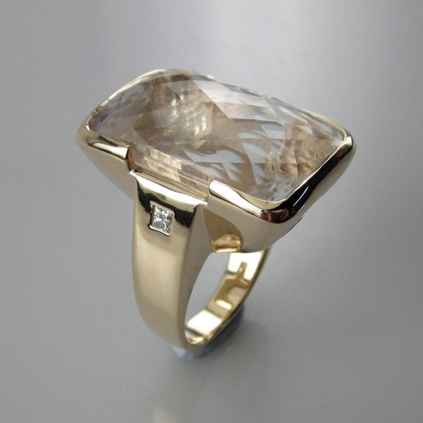 Gold Clear Quartz and Diamond Ring   Geoff Taylor Goldsmith