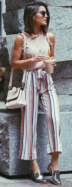 #fall #street #style | Striped Pants