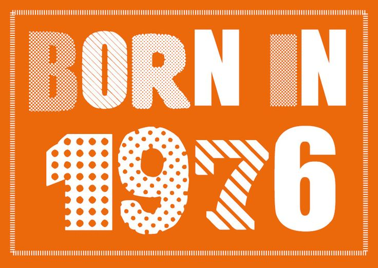 Einladung zum 40. Geburtstag: Born in 1976 von Individuelle Einladung auf DaWanda.com