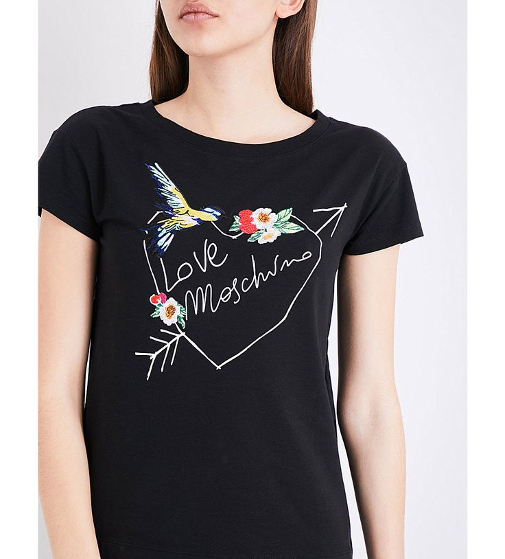 LOVE MOSCHINO - Bird-embroidered logo-print stretch-cotton T-shirt |