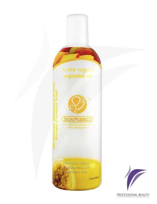 Aceite Vegetal Mango Maracuyá 500ml: Aceite vegetal con mango, maracuyá y frutos tropicales que desintoxica e hidrata la piel aportando bienestar y relajación en la terapia de spa.