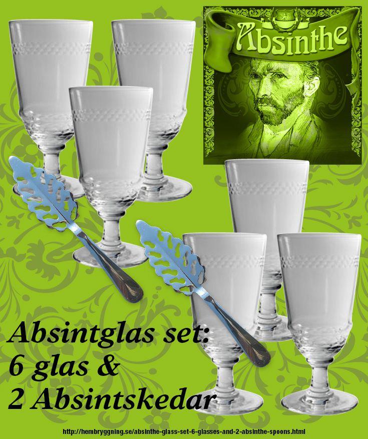 6 st. Cordon Absintglas med dekorrand samt 2 rostfria absintskedar. Allt är nytt men kopior av antika Absintglas och skedar. http://hembryggning.se/absinthe-glass-set-6-glasses-and-2-absinthe-spoons.html