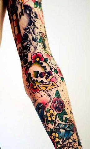 Old School Tattoo On Full Sleeve