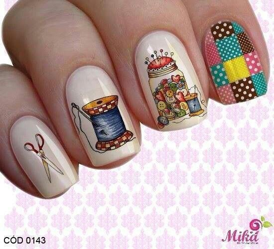 So cute! Awesome sewing nails; would you sport this totally stitchin' nail art?