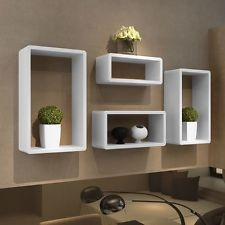 Wall Storage Units Boxes Retro Cubes Floating Shelves Stand Book Shelf White 4Pc