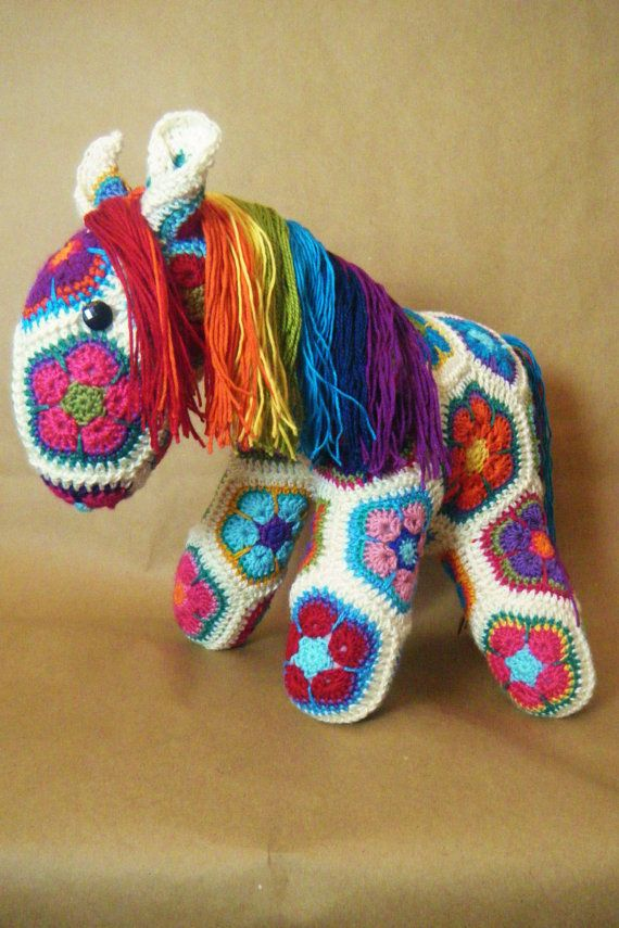 Custom Handmade African Flower Crochet Horse $44.67 Fatty Lumpkin the Crochet horse (from http://heidibearscreative.blogspot.ca/ and her ravelry shop)