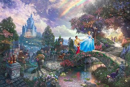Cinderella - Cinderella Wishes Upon a Dream - Thomas Kinkade - World-Wide-Art.com #Disney #Kinkade