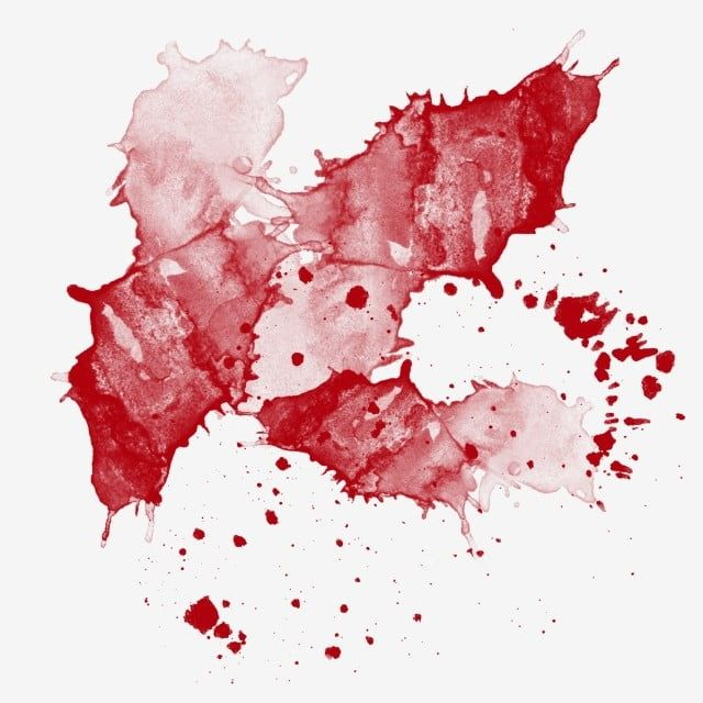 Watercolor Red Bloodstain Splashing Ink Brush Effect Abstract