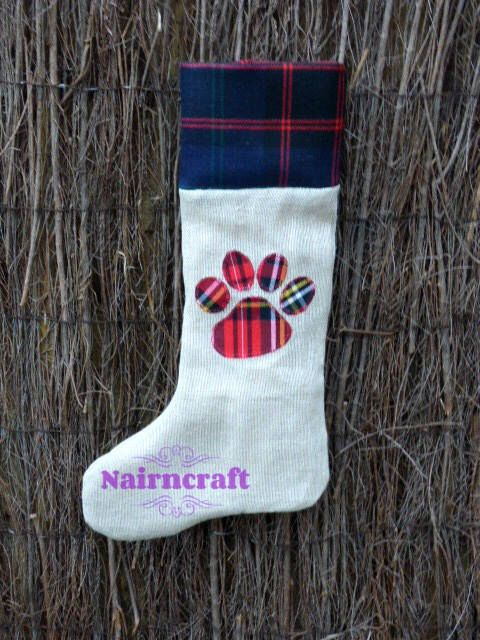 Excited to share the latest addition to my #etsy shop: Christmas Paw Stocking - Pet Christmas Stocking - Dog Christmas Stocking - Cat Christmas Stocking - Handmade - Tartan -  Hessian - Burlap #christmasstocking