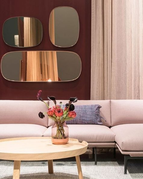 Muuto S Outline Sofa Chaise Longue In Its Rose Shade Complimented
