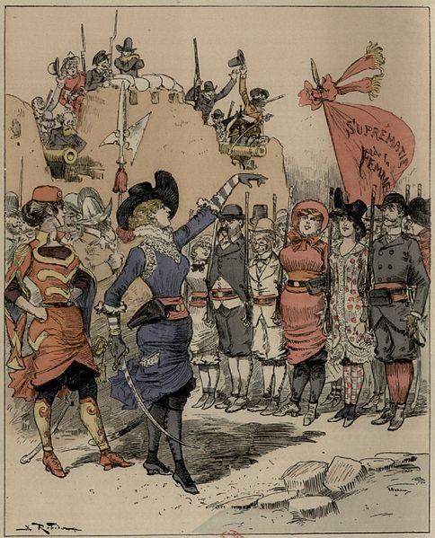 """Révolution de 1953. Le bataillon de la suprématie féminine arrivant aux barricades.  Source  Roman illustré """"Le vingtième siècle"""" (1883)"""