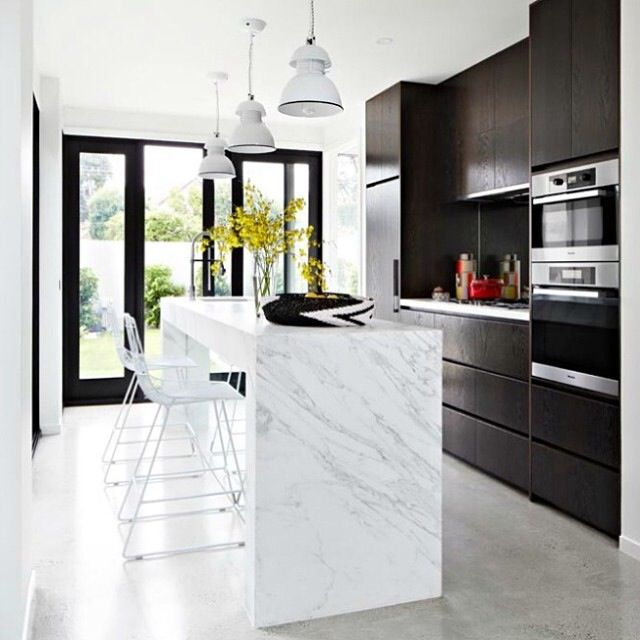 Kitchen inspo - Calcutta marble benchtop via Rebecca Judd loves